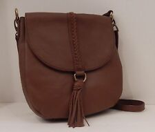 LUCKY BRAND BROWN BRANDY TOBACCO TEXTURED LEATHER ALI SHOULDER HOBO CROSSBODY