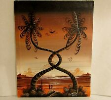 Jamaica D. Roberts Signed Oil Painting Twisted Palm Trees Tropical Sunset 13x17