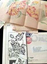 RARE VTG 1940s FULL COLOR Mail Order Transfer Patterns POPPIES