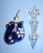 2 VINTAGE CHRISTMAS FIGURAL & BLOWN GLASS MITTENS & ICICLE TREE ORNAMENTS NICE