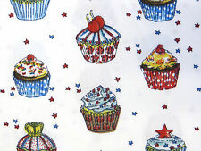 by METRE 100% CUPCAKES sprinkles RED BLUE BRITISH Cotton Fabric vintage bake