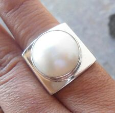 925 Sterling Silver-LH16-Bali Hand Made Ring Box Style With Mabe Pearl Size 8