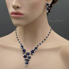 White Gold Plated Sapphire Zirconia CZ Necklace Earrings Wedding Jewelry Set 354