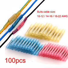 100pcs 10-12 14-16 18-22 AWG Heat Shrink Butt Wire Electrical Crimp Connector
