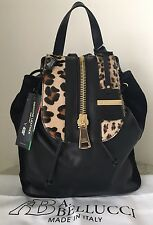 NWT A Bellucci Pelletterie Italy Italian black leather fur backpack purse bag