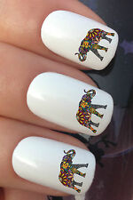 NAIL ART SET #377 x24 FLOWER AFRICAN ELEPHANT WATER TRANSFER DECALS STICKERS