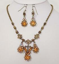 AMBER AUSTRIAN CRYSTAL NECKLACE AND EARRINGS SET     D199