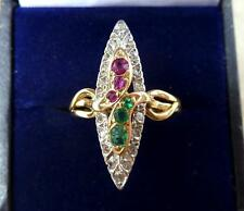 Rare victorian 18ct gold Emerald Diamond and Ruby marquise snake ring