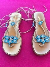Sandals Boho Hippy Turquoise  Size 8 Lace Up