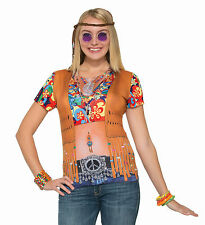 Forum Women's Instant Hippie Lady Sublimation Printed T-shirt Size XL up to 16