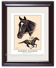 SUNDAY SILENCE FRAMED HORSE RACING ART racehorse equine painting Kentucky Derby