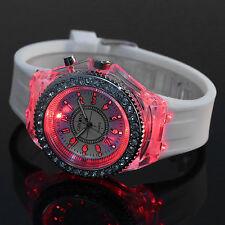 Lady Women LED Backlight Analog White Silicone Fashion Quartz Wrist Watch