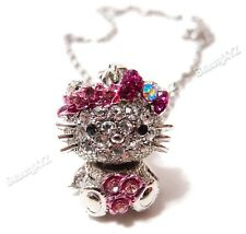 NEW cute pink rhinestone high quality metal hello kitty necklace #2
