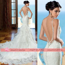 New Sexy Backless Lace Mermaid Wedding Dress Bridal Gown Custom Size 4 6 8 10 ++