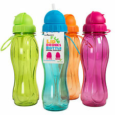 Set of 4 Mixed Flip Lid BPA Free Plastic Drinks Bottles School Sport Water Kids