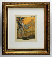 "*BOGO* 1912 Gustave BAUMANN Original Woodcut ""Summer Fishing"" SIGNED Framed COA"