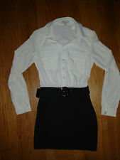NWT Forever 21 Size Small Dress Sheer Ivory Top With Solid Black Bottom and Belt