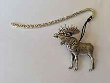 A47 Standing Moose  Pattern bookmark with cord 3D English pewter charm