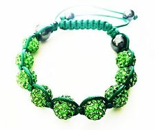 USA Bracelet using Swarovski Crystal Ball Sizable Handmade Shambala Green Cute