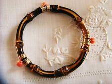 Vintage Gold~ Orange Coral~Bamboo Bangle Bracelet