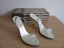 Vintage Carlton Exclusives Lucite? High Heel Glass Evening Slippers Sz 6.5