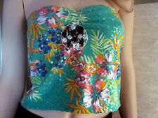 girls women strapless sleeveless sequins shirt top tank colorful  Green L GLO -