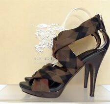 "$750~BURBERRY ""Intage Housecheck"" Bark Sandal Size 37.5 (w/box)"