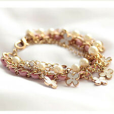 New Xmas Gift White Pearl Clover Bracelet Leather Rope Bracelet Jewelry for Girl