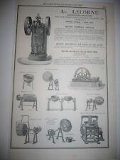 Pub 1878 - Ad. Lecornu Machine à perler dragées pâtes