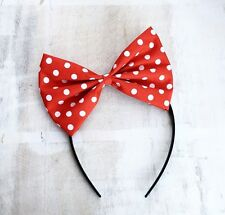 Red and white Polka Dot Bow Headband Rockabilly PIN UP girl