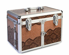 Cosmetic/Jewelry Train Case - Snake Skin - UMBER (BEIGE/BROWN)