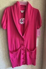 Kensie Girl HOT PINK Top NEW Sz M Short Sleeves Tunic Cowl Neck Button STRETCH