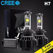 H7 Cree LED headlight Conversion Kit 60W 6000K 7200LM White Bulbs Pair