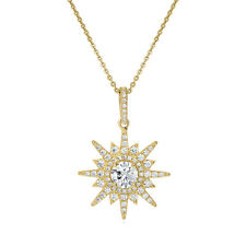 BERRICLE Yellow Gold Plated Sterling Silver CZ Starburst Pendant Necklace