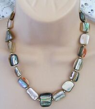 "Abalone   Shell     Beaded   18""   Inch   Colourful    Chunky   Necklace"
