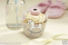 New baby shower party Rock A Bye Baby 10 cute rocking horse cupcake wraps