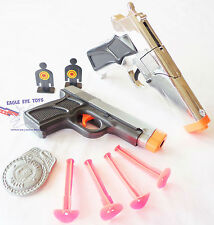 2X Toy Guns Silver 9MM Cap Gun & 9MM Dart Pistol & Targets Set SAFE