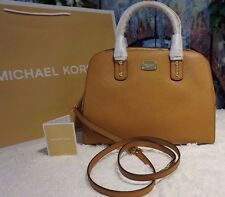 NWT MICHAEL Michael Kors SAFFIANO Leather LARGE Satchel Crossbody ACORN $398