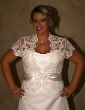NWT Size 18 Ivory satin A line gown with Lace short sleeved jacket, wedding gown