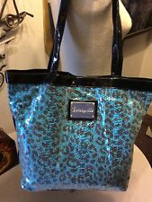 Betseyville by Betsey Johnson XL tote blue & black leopard print sequins
