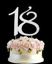 Diamante Rhinestone Gem Cake Topper Birthdays Anniversary Silver Numbers -18