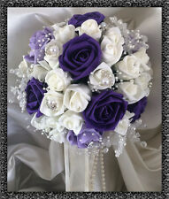 Bridal Posy Bouquet Purple/lilac& white Roses with crystal flower embellishments