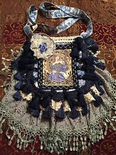 handmade gypsy purse Bohemian bag art nouveau Mucha woman blue cobalt dark royal
