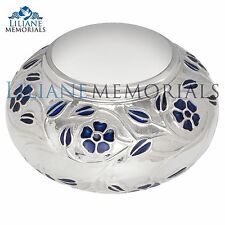 Silver, Blue Flowers - Brass Funeral Cremation Urn,  Adult, 200 cubic inches
