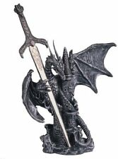 "6.5"" Inch Dragon Statue with Sword Figurine Figure Fantasy Collectible Decor"