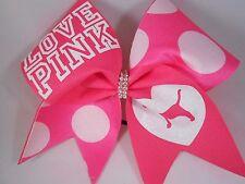 Cheer Bow LOVE PINK White Polka Dots by BlingItOnCheerBows