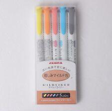 ZEBRA Mildliner Soft Color Double-Sided Highlighter Pen 5-Colors SET WKT7-N-5C