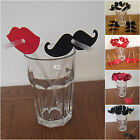 Moustache and Red Lips props drinking straws ~ Wedding, Party, Hen, Valentine