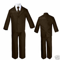 New Baby Toddler & Boy Formal Wedding Brown Tuxedo Suit S M L XL 2T 3T 4T 5 6-12