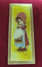 VINTAGE RETRO LITHO BOARD WALL PLAQUE GIRL & BIRD NEW CONDITION! (SOROKA) 1970's